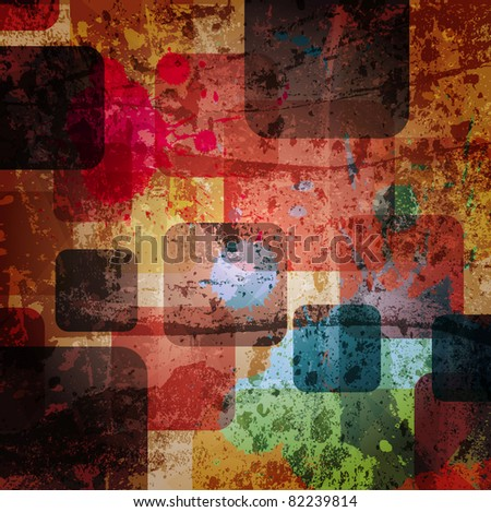 squares on the grunge wall, abstract vector background