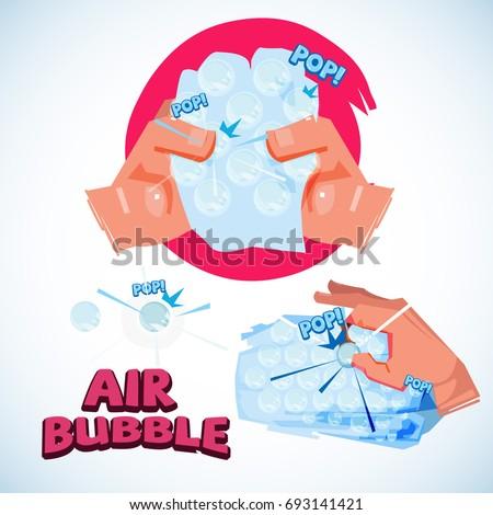 Squeezing Bubble Wrap. bubble air. relax concept - vector illustration