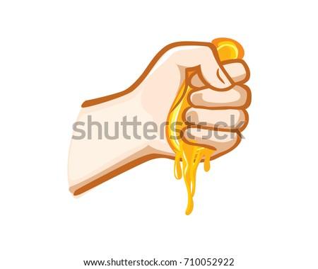 Squeezing orange fruit in Hand Stockfoto ©