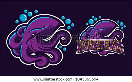 squid/kraken/octopus mascot logo design for sport team