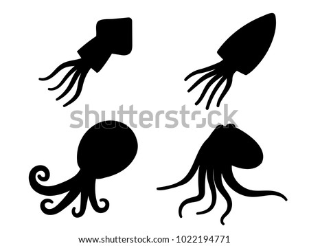 Squid, octopus and cuttlefish in icons and symbol, vector