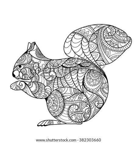 squirrel coloring book hand