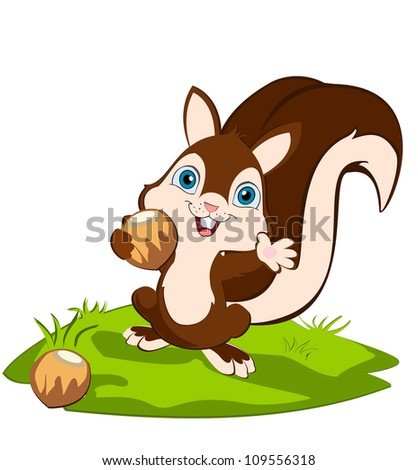 squirrel holding a nut and