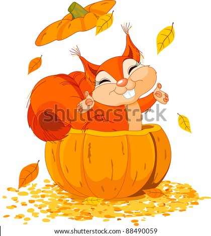 Squirrel jumping out from a pumpkin