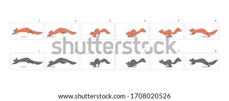 Squirrel Run cycle Animation. Squirrel walk cycle animation sprite sheet, sequence, animation frames.-vector