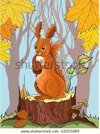 squirrel with acorn in autumn