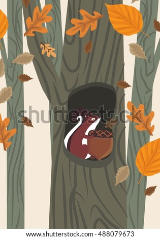 squirrel with acorn in tree