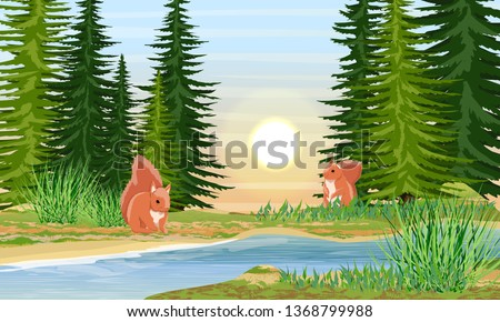 Squirrels on the river bank. River bank with grass, trees and bushes. Sunset or sunrise in summer. Wild nature of Russia, Europe, USA and Canada. Realistic Vector Landscape