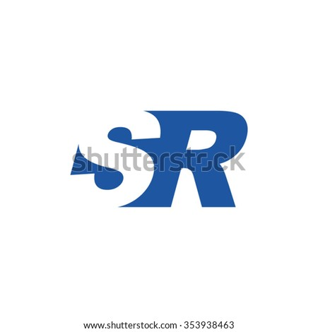 sr negative space letter logo
