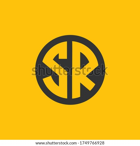 SR or S R letter alphabet logo design in vector format. Stock fotó ©