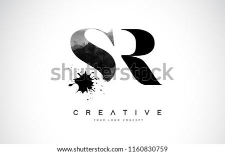 SR S R Letter Logo Design with Black Ink Watercolor Splash Spill Vector Illustration.