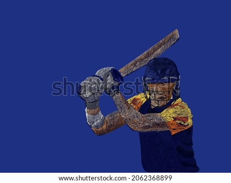 Sri Lanka Cricket Batter In Playing Pose With Line Pattern On Blue Background.