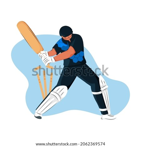 Sri Lanka Cricket Batter Losing His Wicket On Blue And White Background.