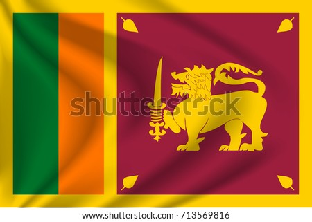 Sri Lanka flag background with cloth texture. Sri Lanka Flag vector illustration.