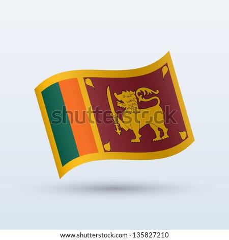 Sri Lanka flag waving form on gray background. Vector illustration.