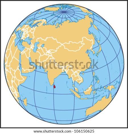 Sri Lanka Locate Map - stock vector