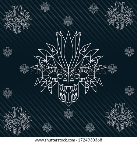 Sri Lanka traditional mask Vector white line art with black background , yaka Stok fotoğraf ©