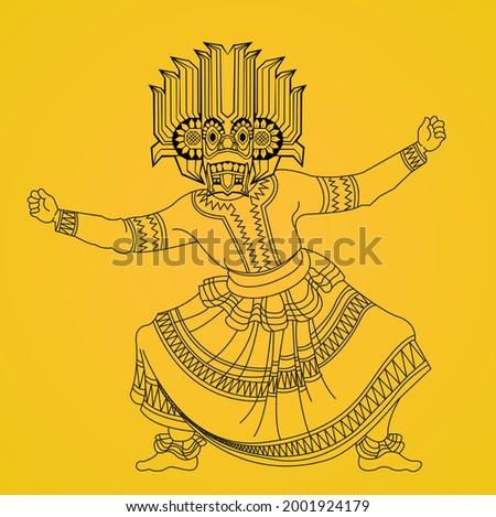 Sri Lankan Traditional Devil Mask dancer silhouette design Stok fotoğraf ©