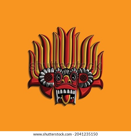 Sri Lankan Traditional Yaka mask Vector. T Shirt Design. Background design. Wallpaper Design Vector. Stok fotoğraf ©