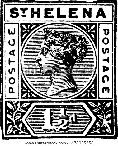 St. Helena Stamp (1-1/2 d) from 1890, a small adhesive piece of paper stuck to something to show an amount of money paid, mainly a postage stamp, vintage line drawing or engraving illustration. Photo stock ©