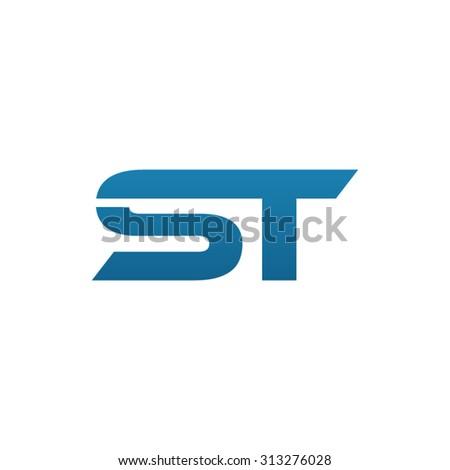 ST initial company blue swoosh logo