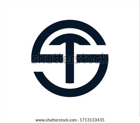 ST letter logo design Vector Stock fotó ©