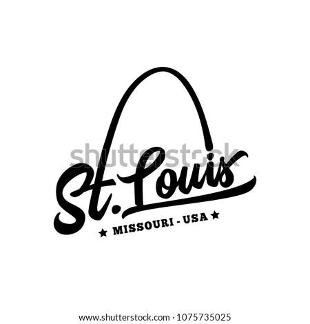 St. Louis. Black and white lettering design. Decorative inscription. Saint Louis vector and illustration.