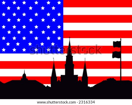 St Louis Cathedral Jackson Square and American Flag stars and stripes illustration