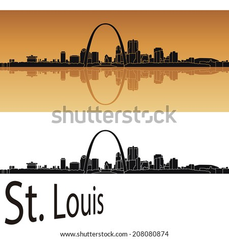 st louis skyline in orange