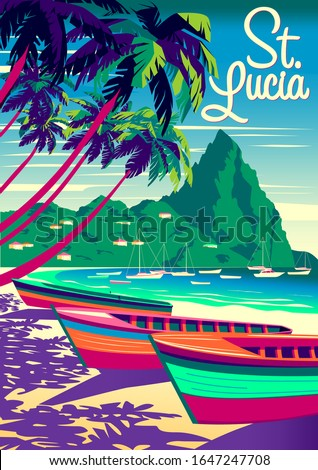 St. Lucia Island landscape with traditional caribbean boats, palm trees, island and the sea in the background. Handmade drawing vector illustration. Retro style poster.