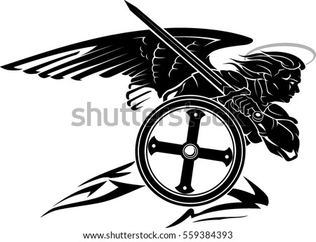 St. Michael Archangel Charging Pose with Round Shield