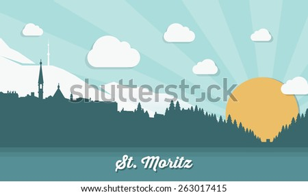 stmoritz skyline   flat design