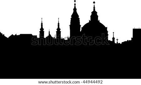 St Nikolas church -  one of the most important buildings of baroque Prague - vector