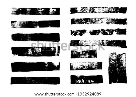 St of grunge backgrounds. Brush strokes. Dirty texture. Black grungy backdrop, rough borders, distressed texture.