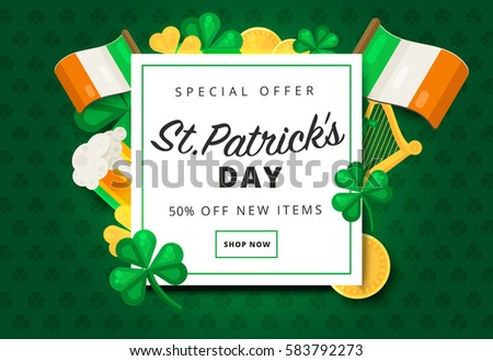 St. or Saint Patrick's day vector background design. La Fheile Padraig holiday banner layout. Greeting letter or postcard element with Irish symbols. Party or event headline template with text.