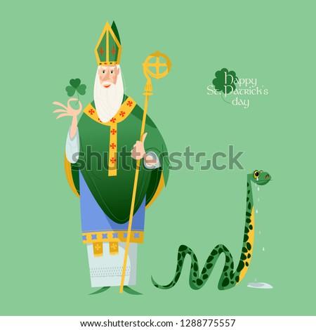 St Patrick (Apostle of Ireland ) banishes snakes from Ireland. The patron saint of Ireland. Vector illustration