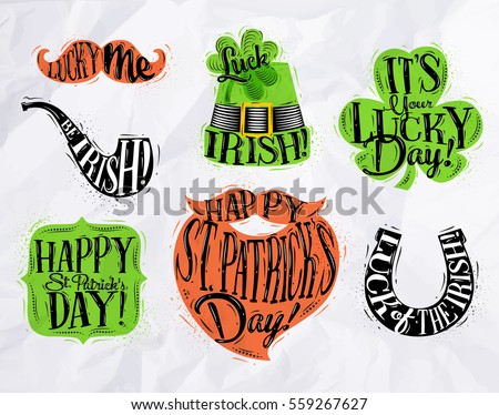 St Patrick celebration symbols mustache, smoke pipe, hat, clover, frame, beard, horseshoe drawing with color in vintage style on crumpled paper background