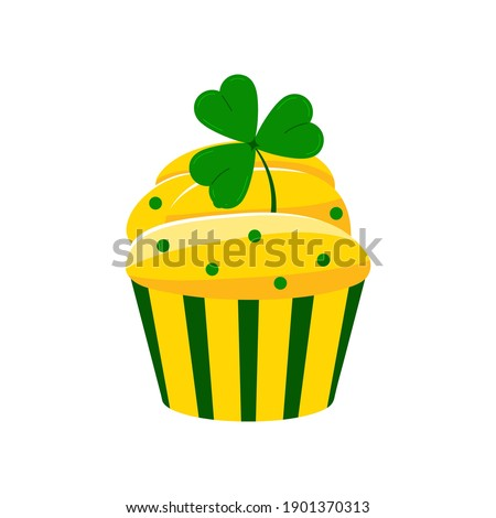 St Patrick cupcake with shamrock isolated on white background. Muffin with green three leaves clover. Flat cartoon dessert vector illustration. Happy Saint patrick's day greetings card design element. Foto stock ©