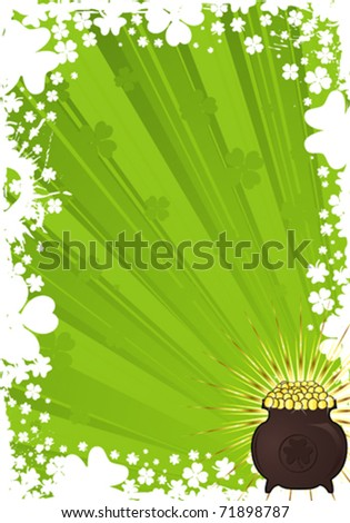 St. Patrick Day frame with a cauldron of gold coins, vector illustration