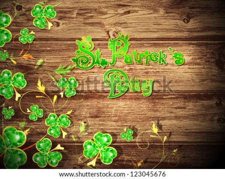 St.Patrick Day With Floral Clover at Natural Dark Wooden Background