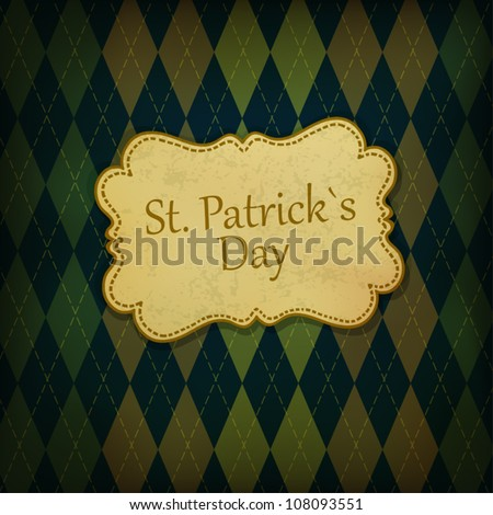 St. Patrick holiday greeting card. Vintage styled, vector, EPS10