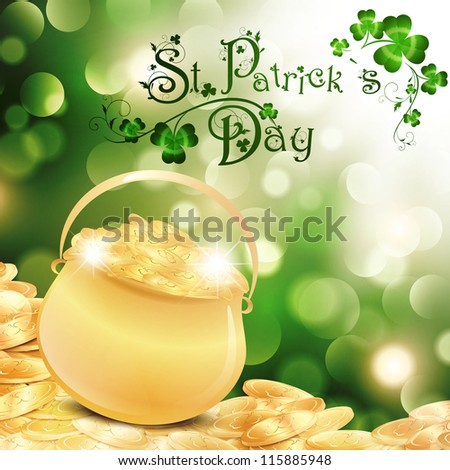 St.Patrick Holiday Theme With Gold Coins, Golden Pot and Shamrock Over Bright Background