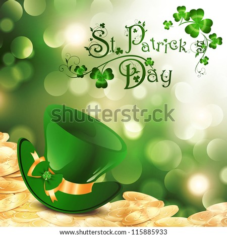 St.Patrick Holiday Theme With Gold Coins, Green Hat and Shamrock Over Bright Background