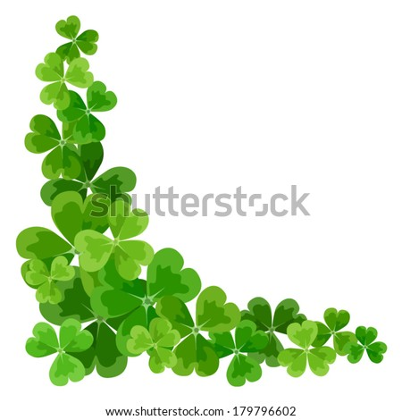 St Patrick's corner border with shamrock Vector illustration