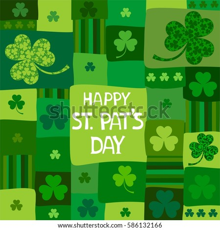 St. Patrick's day background in green colors.  Vector illustration.