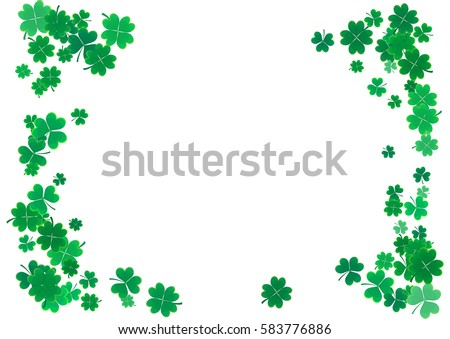 St. Patrick's Day background template with falling clover leaves isolated on a white background. Vector illustration.