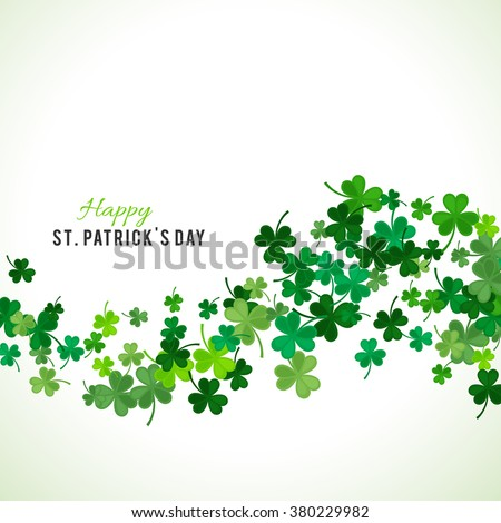 St Patrick's Day background. Vector illustration for lucky spring design with shamrock. Green clover wave border isolated on white background. Ireland symbol pattern. Irish header for web site.