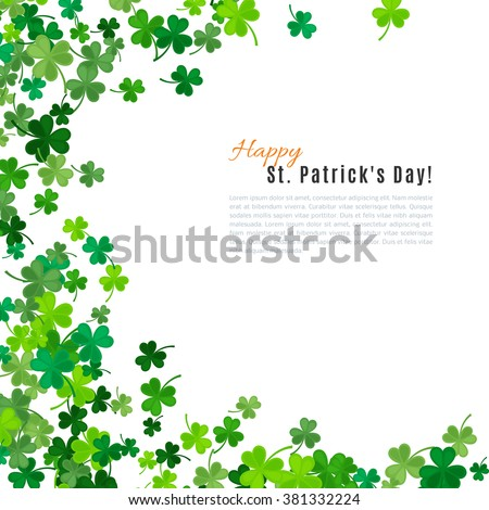 St Patrick's Day background. Vector illustration for lucky spring design with shamrock. Green clover border and frame isolated on white background. Ireland symbol pattern. Irish header for web site.