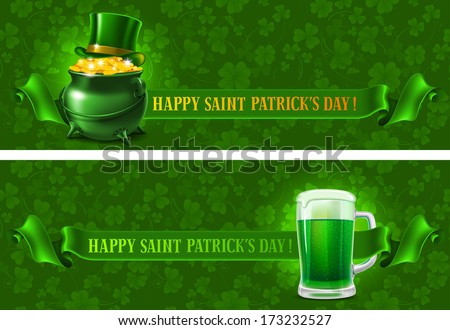 St.Patrick's Day background with beer and wealth. Vector illustration  - stock vector