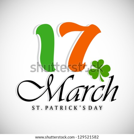 St. Patrick's Day background with text 17 March. EPS 10.